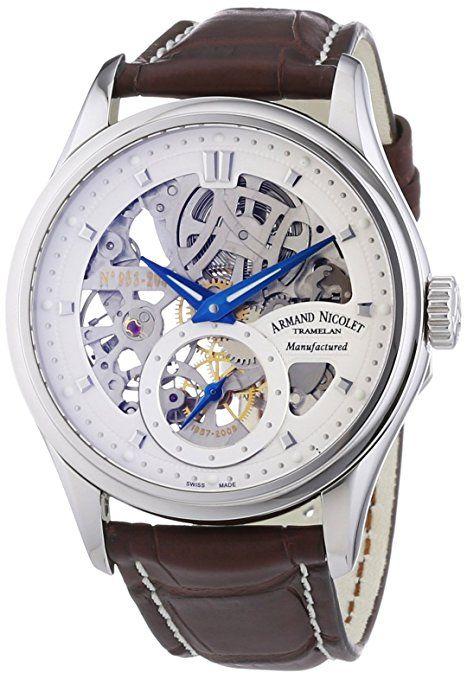 Armand Nicolet 9620S-AG-P713MR2 - Reloj analógico mecánico para hombre, correa de cuero color marrón