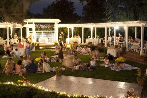 Picnic wedding at night, blankets and pillows on the ground for some guest and tables for bride and groom and guest who cant sit on ground?
