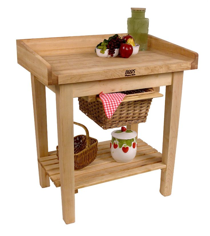 John Boos White House Table Cart With Butcher Block Top Riser At