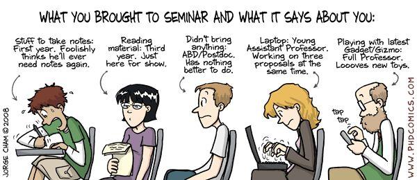 PHD Comics: What you brought to seminar