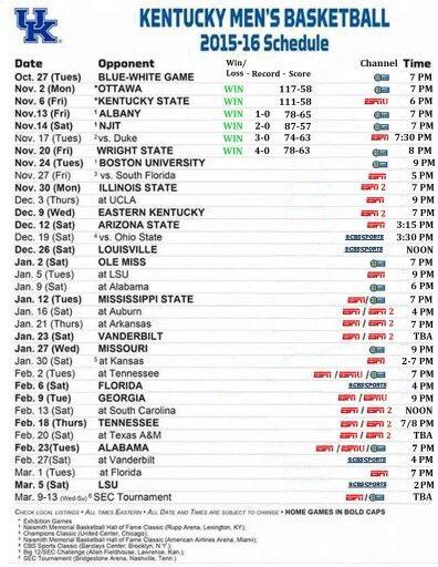 UK Basketball Schedule 2015-16
