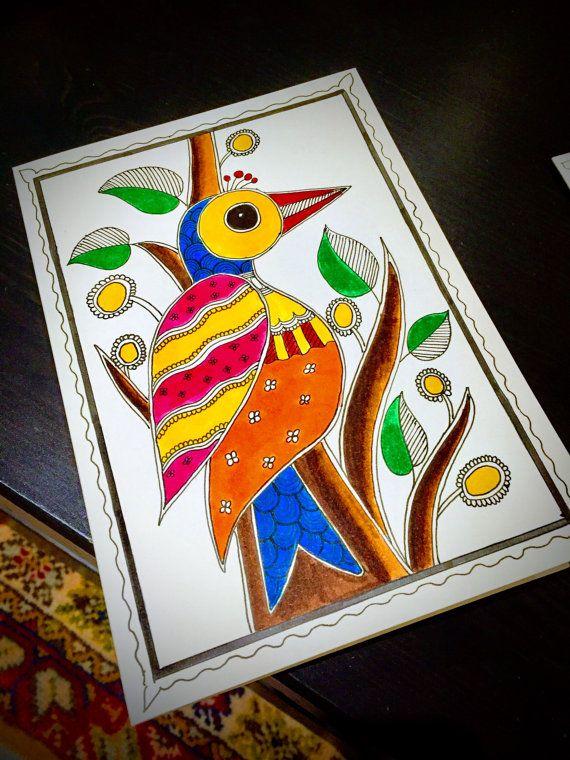 Handmade Madhubani Bird Cards Indian folk by ExoticMadhubaniArts