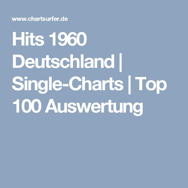 Hits 1960 Deutschland | Single-Charts | Top 100 Auswertung