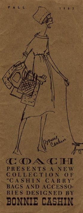 The Fall 1963 catalog cover, hand-sketched by first Coach creative director, Bonnie Cashin.