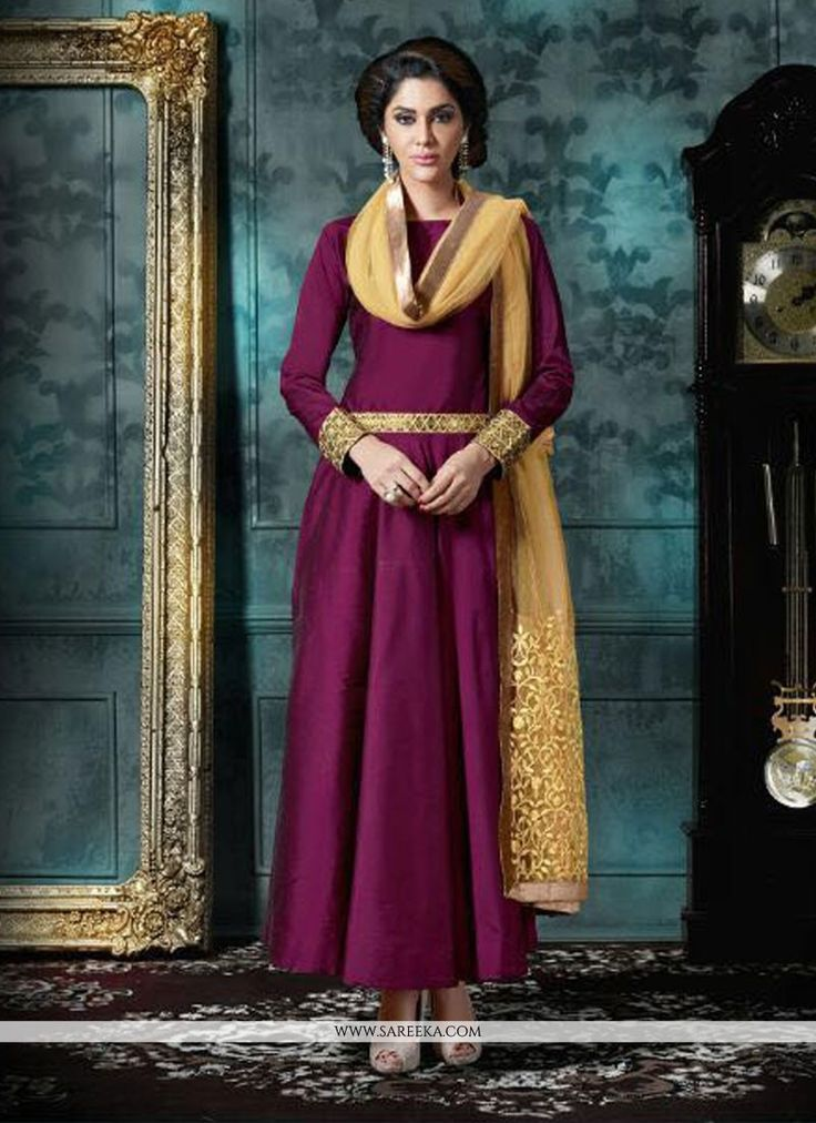 Include your self in to the glamour of a season with this violet georgette designer salwar suit. The attractive embroidered and patch border work a vital attribute of this dress. Comes with matching b...