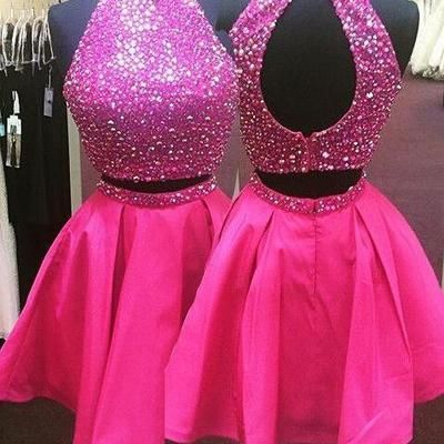 Short prom dress,red prom dress,beaded prom dress,two pieces prom dress,junior party dress,homecoming dress,pd00201