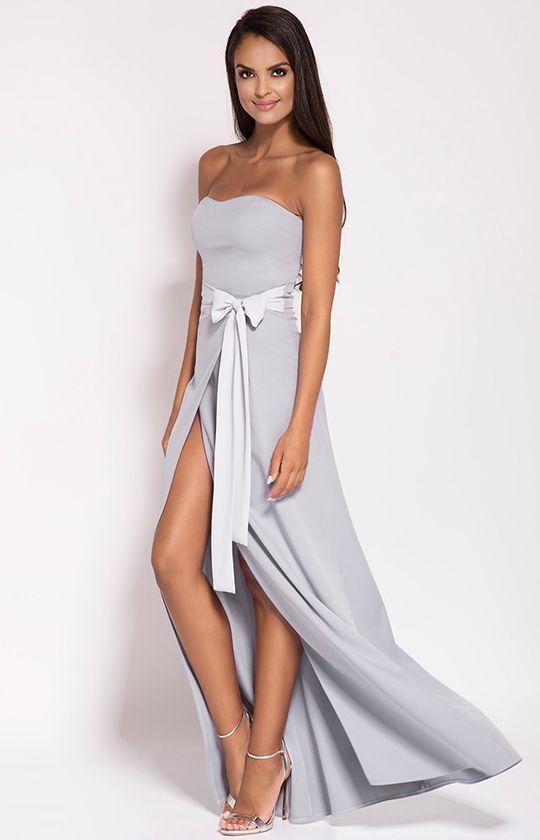 67b4a1b23 Dursi Lorica sukienka szara Wyjątkowa sukienka o długości typu maksi,  wykonana została z eleganckiej jednolitej