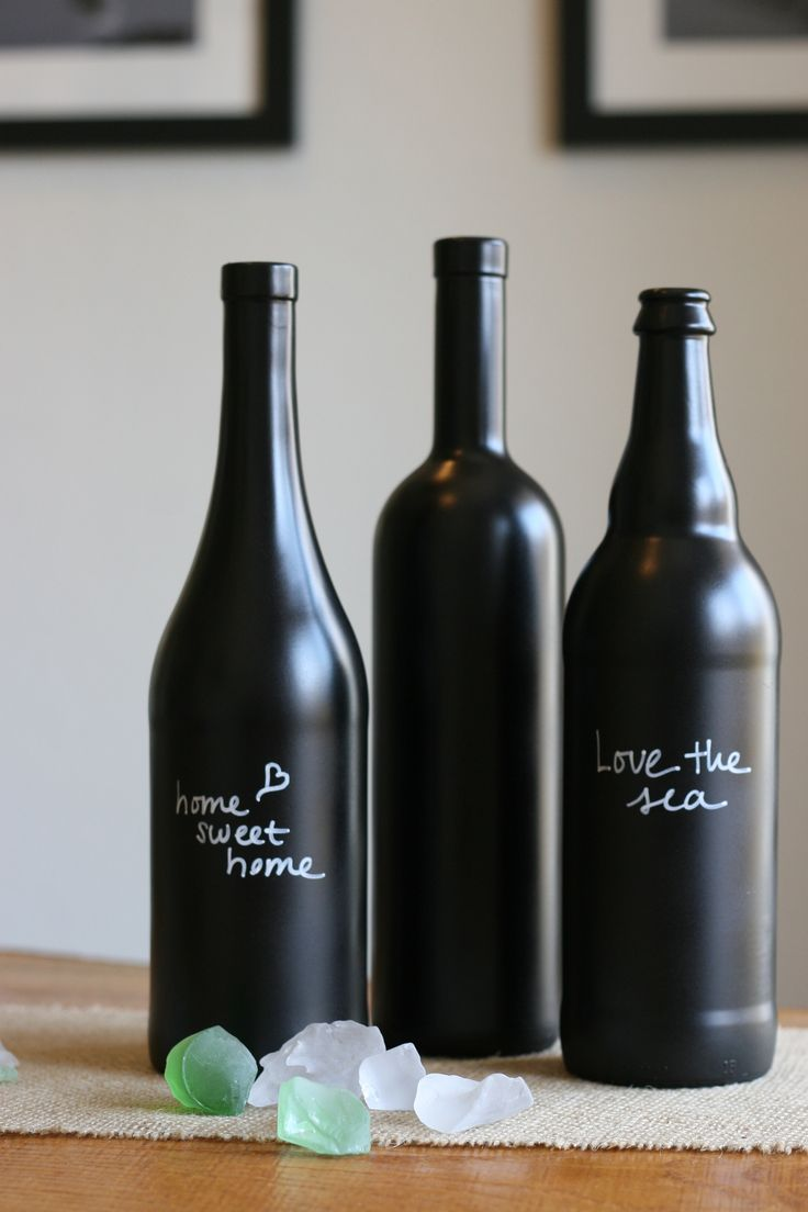 diy chalkboard paint wine bottles {round 2}