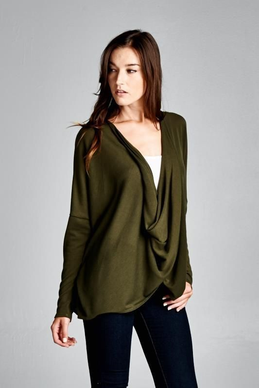 b9496c9a8be5 Olive Surplice Wrap Around Top – Meli Chic Boutique Wrap Around Top - Surplice  Top - Surplice Wrap Top - long Sleeve Surplice Top - Twist Front top - Long  ...