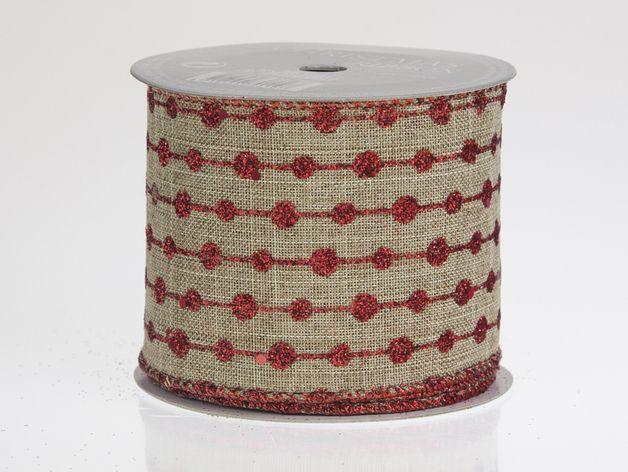 Dekoband in naturfarbener Leinenoptik mit rot glitzerndem Pünktchenmuster. Das Band eignet sich besonders gut zum Herstellen von großen Schleifen für den Weihnachtsbaum oder zum eleganten Verzieren...
