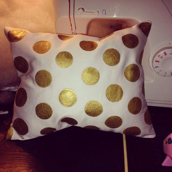 Kate Spade Inspired Gold Dot Pillow by bowsandsprinkles on Etsy, $10.00