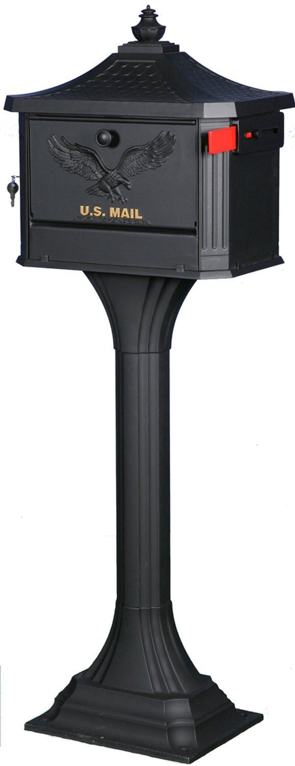 Gibraltar PED0000B Large Cast Aluminum Pedestal Mailbox, Black - Security Mailboxes - Amazon.com