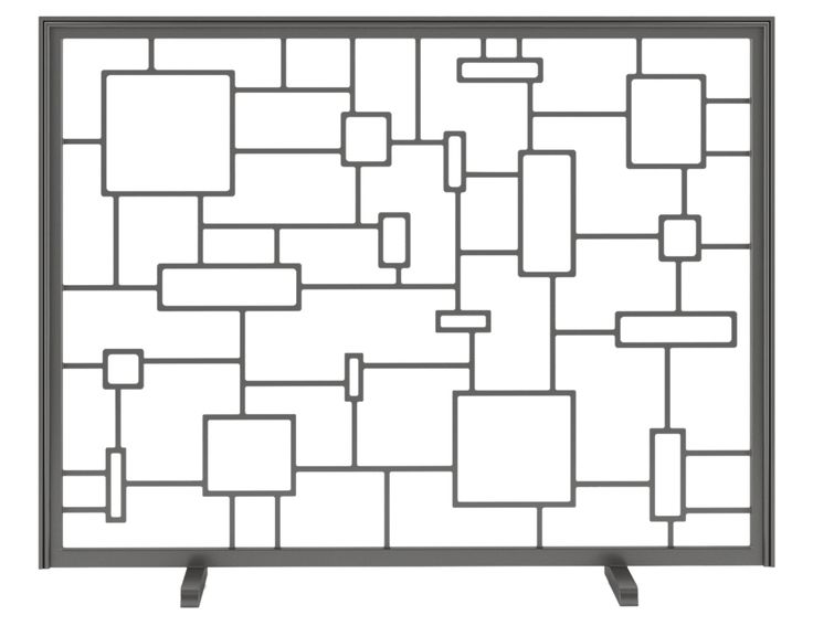Buy Decora Squares Fireplace Screen by Urban Ironcraft - Made-to-Order designer Accessories from Dering Hall's collection of Mid-Century / Modern Transitional Fireplace Mantels & Accessories.