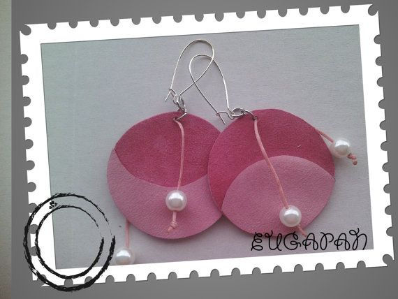 leather handmade earrings by LeatherEugapan on Etsy, €16.00