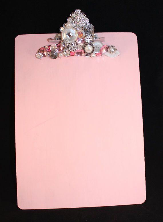 Pink Rhinestone Embellished  Clipboard