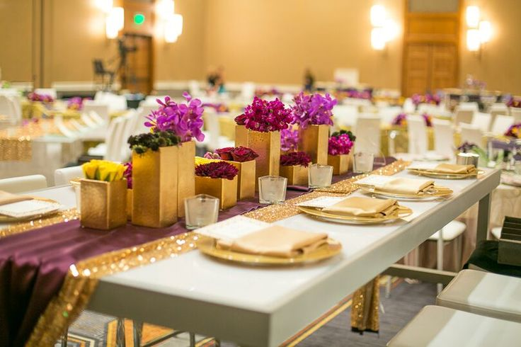 Love the centerpieces against the deep Eggplant purple and Gold Sequin <3
