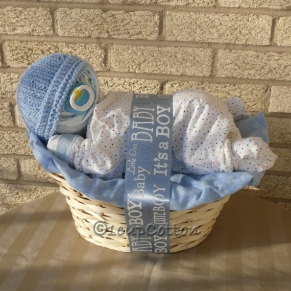 Deluxe Boy Napping Baby BasketTM in Blue by 1cupCotton on Etsy, $45.00