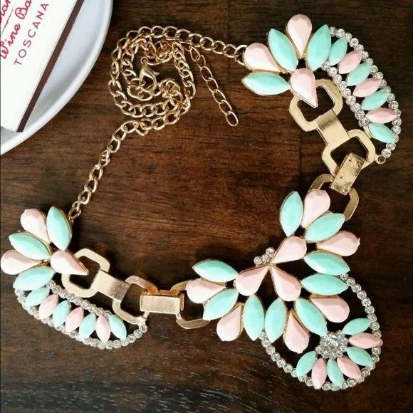Mint and Soft Pink Statement Necklace Mint and light pink stones, with crystal accents and gold-colored hardware. Jewelry Necklaces