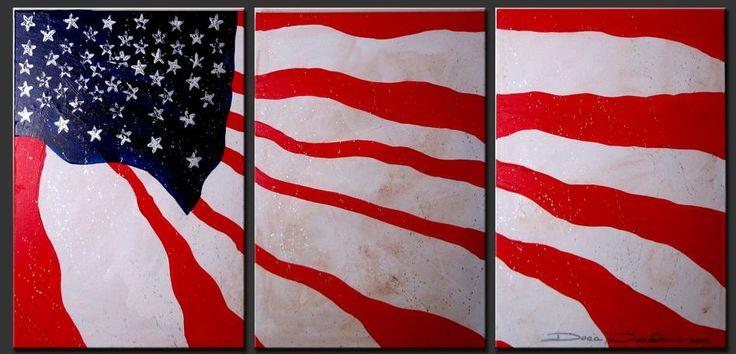 "modern american art | Original Abstract Painting - ""American Flag"""