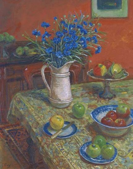 MARGARET OLLEY  Cornflowers and Indian Rug  (1995)