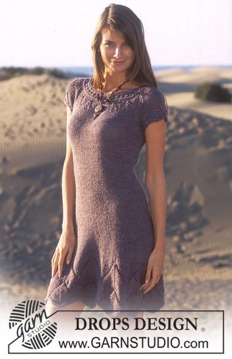 "DROPS 95-10 - DROPS kjole med rund bærestykke i ""Safran"" og ""Alpaca"". Str XS/S-XXL - Free pattern by DROPS Design"