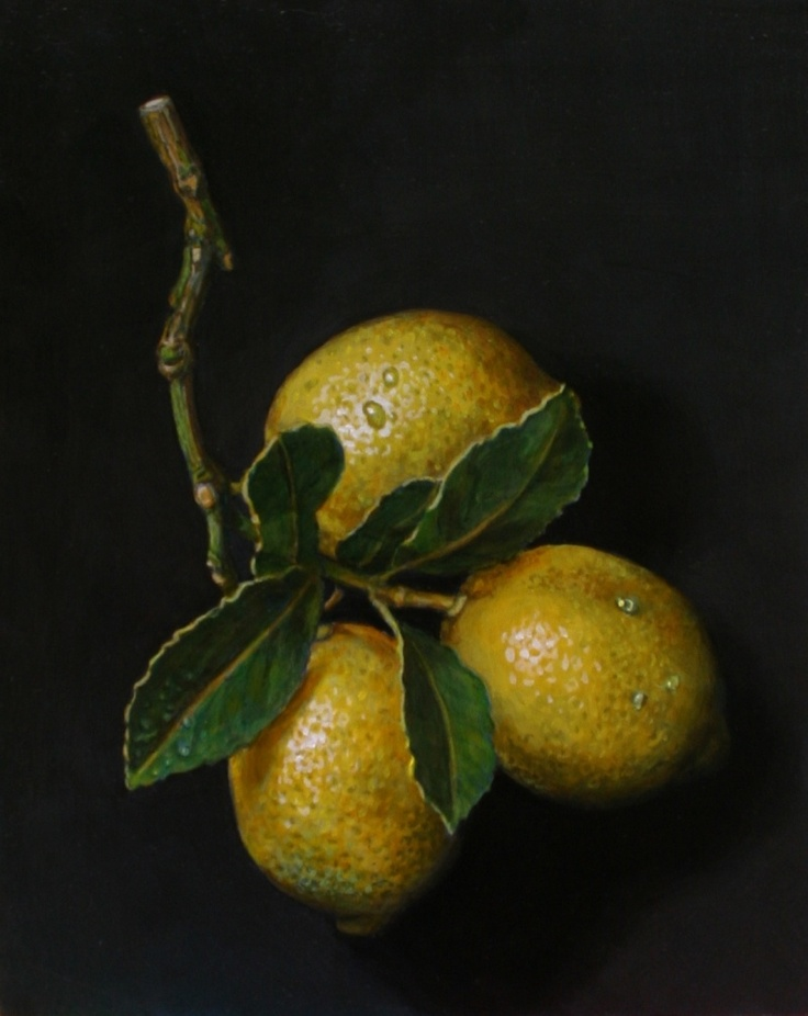 Painting of lemons. Oils on board 10 x 8 inches by Paul Herman