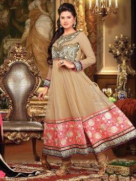 Dark Cream Georgette Anarkali Suit With Zari And Resham Embroidery Work