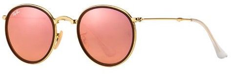 Ray-Ban Men's Mirrored Round Folding RB3517-001/Z2-51 Gold Round Sunglasses