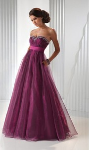 2012 New Tulle Strapless High Waist A-line Prom Dress