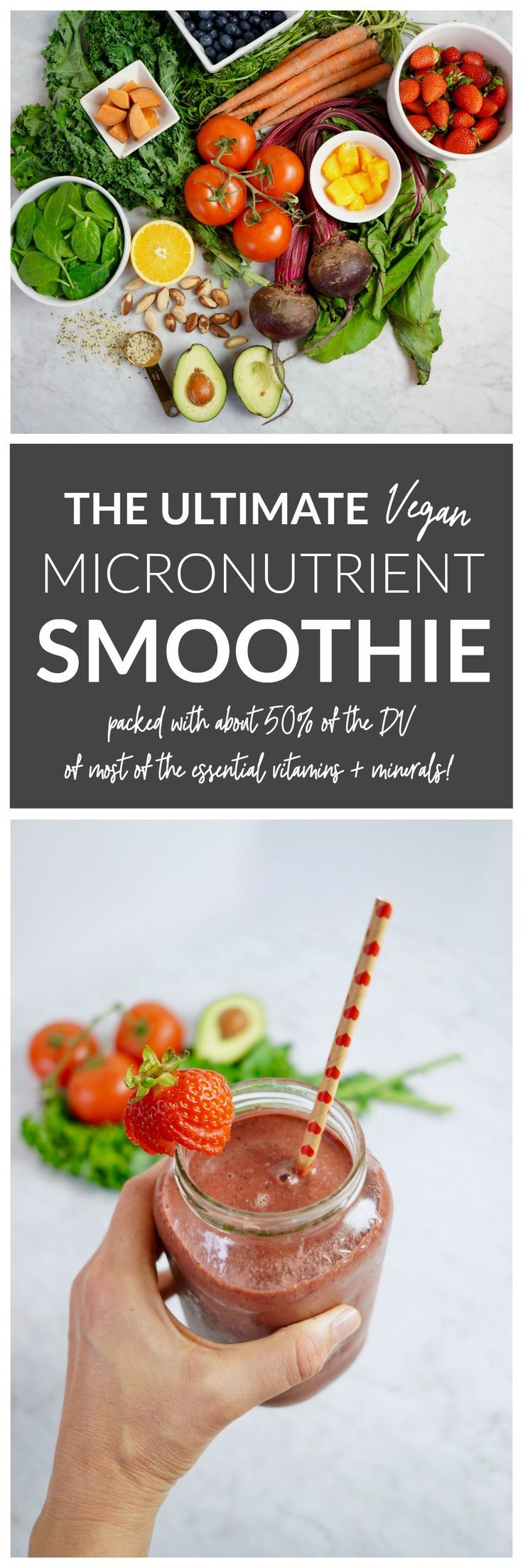 The Ultimate Vegan Micronutrient Smoothie - this smoothie is packed with about 50% of your daily micronutrient needs for most of your essential vitamins + minerals. It also has 15 grams of fiber and 16 grams of plant-based protein - without using any protein powder or supplements. AND it tastes delicious! #vegan #smoothies #nutrition