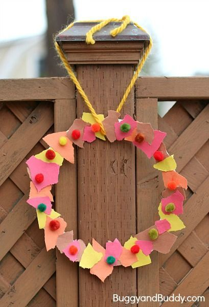 Fall Crafts for Kids: Tear Art Fall Wreath