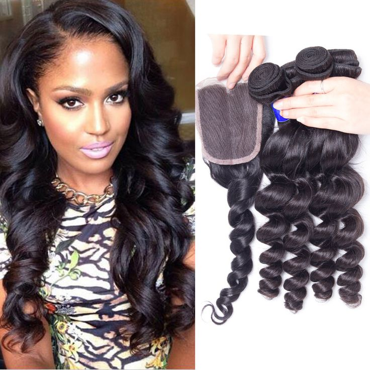 4 Pcs 8a Grade Virgin Unprocessed Peruvian Loose Wave Human Hair With Lace Closure Puruvian Loose Wavy Hair Bundles With Closure