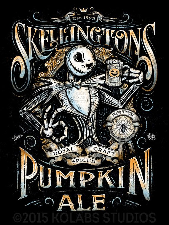 Jack Skellington's Pumpkin Ale Inspired Halloween Design by JP Perez and Barrett Biggers Premium Quality Giclee Archival Print