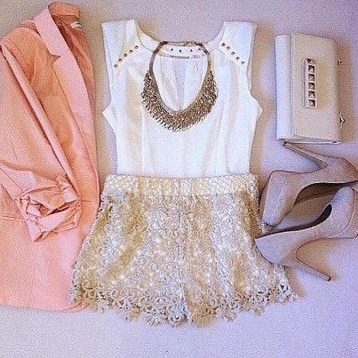 Great outfit for a summer night out with on the town. Peach/ Pink blazer,  white,tan lace shorts, gray,tan pumps, white studded clutch,