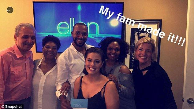 Ashley can be seen posing with her family, including her husbandJustin Ervin (center) and her mom Linda (far right), at the Ellen Show studios