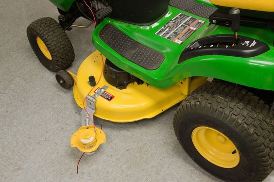 LAWN & YARD TRACTOR TRIMMER by EZTRIM-Fits 2 Blade Mowers-Hands Free Attachment   eBay
