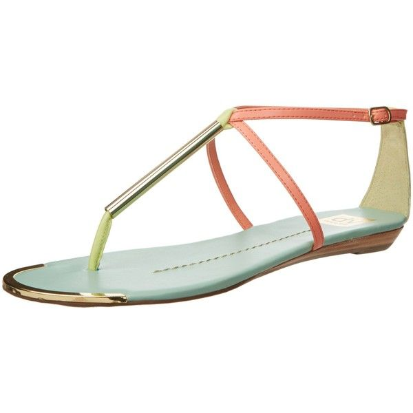 DV by Dolce Vita Women's Archer Thong Sandal ($21) ❤ liked on Polyvore featuring shoes, sandals, python sandals, neon sandals, dolce vita, snake print sandals and adjustable strap sandals
