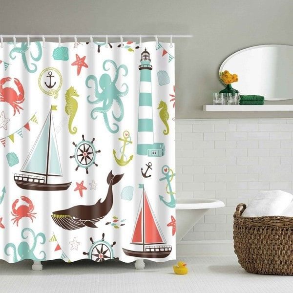 Cartoon Marine Product Polyester Waterproof Shower Curtain - COLORMIX L