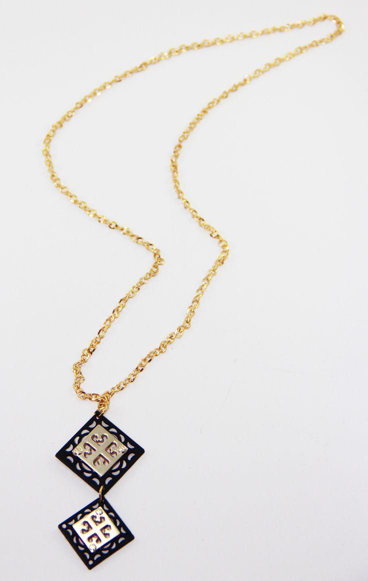 Lazer Kesim Çift Gold-Siyah Kolye 44 cm uzunlugunda. www.suanyemoda.com