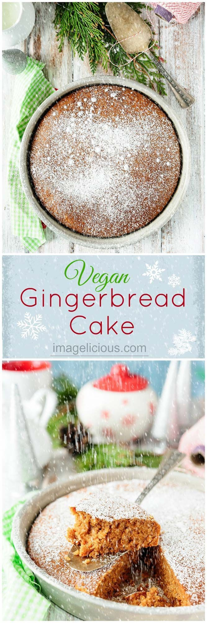 This Vegan Gingerbread Cake is perfect for breakfast with a mug of coffee or an afternoon snack with a cup of tea. It's deliciously spicy and soft and light. Easy one-bowl dessert that can be made even during the busiest holiday season   Imagelicious