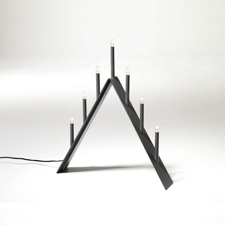 Spica+Adventslysestake+7,+Grå,+SMD+Design