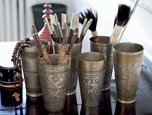 lassi cups to corral makeup brushes