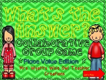 """What's the Answer?  Collaborative Group Game Place Value Edition***This is a Power Point game that is create in 2007 PowerPoint. Please be sure you have Power Point 2007 or newer before purchasing this game. Since this is an downloadable digital product no refunds will be given.*** """"What's the Answer?"""