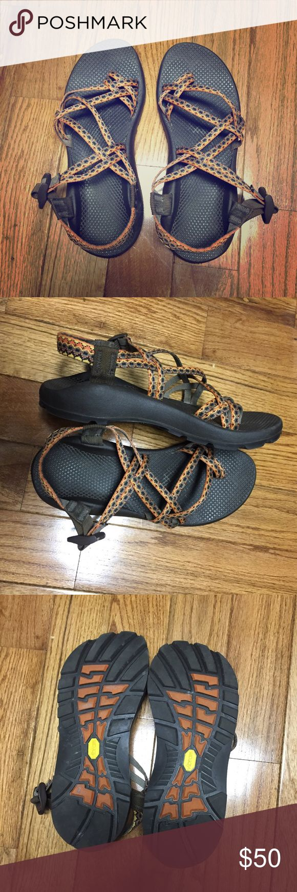 Chaco Sandals! Size 10! Worn a couple times, in good condition! **The ankle straps have been cut using a rope cutter so that they wouldn't fray. I have a large/wide foot and the strap is still long enough to keep it secure** Please ask any questions before buying! Chaco Shoes Sandals