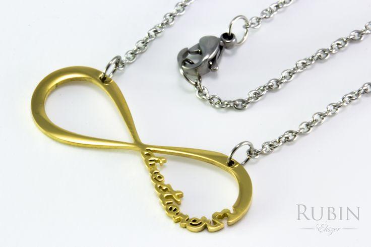 Nemesacél arany színű végtelen motívumos nyaklánc  www.rubinekszer.hu