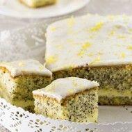 Recept voor suikerglazuur met smeuïge cake met maanzaad en een romige mascarponevulling