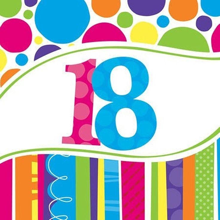 Kolorowe serwetki na 18 urodziny
