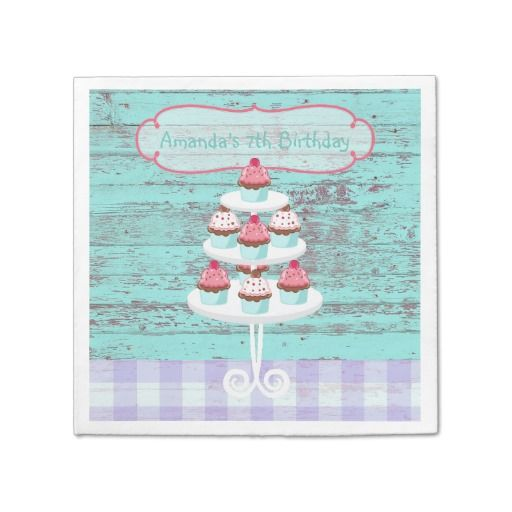 Girl's Birthday Tea Party Shabby-Chic Personalized Standard Cocktail Napkin