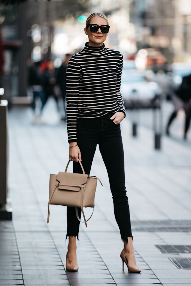 Fashion Jackson Nordstrom Black White Striped Turtleneck Sweater Black  Skinny Jeans Nude Pumps Celine Mini Belt Bag d9b589bab