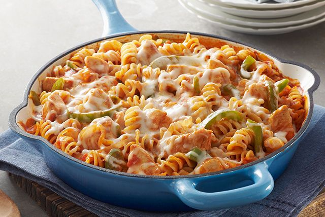 Pasta? Check. Chicken? Check. Cheese? You bet. All you need is a skillet to turn them into a tasty dish that can be part of a smart eating plan.